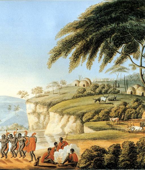 Historische Darstellung einer Xhosa-Siedlung um 1810 (Lodewijk Alberti)
